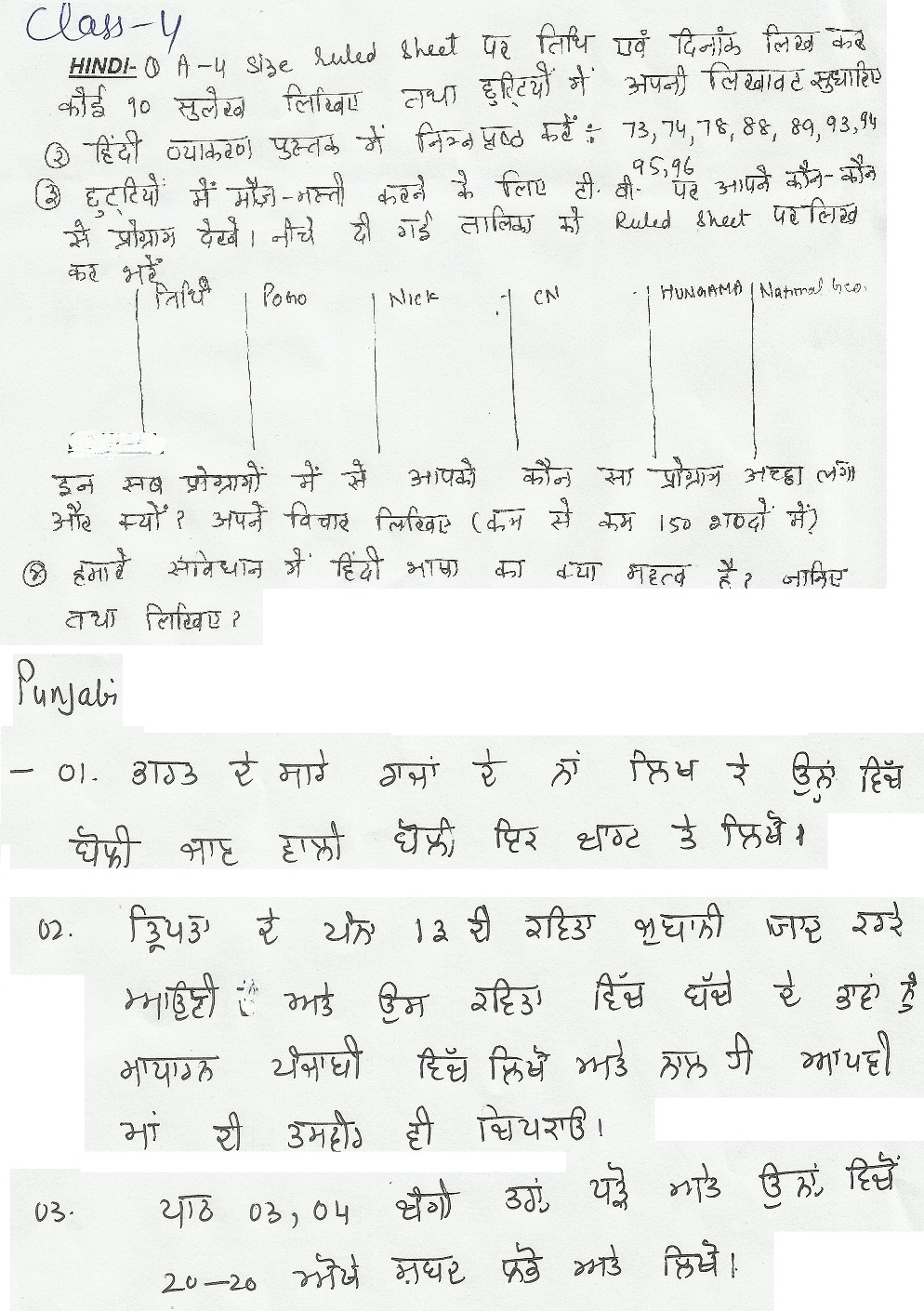 ryan international school amritsar holiday homework